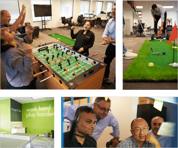 Pavlion team playing foosball, putt-putt, and working together.